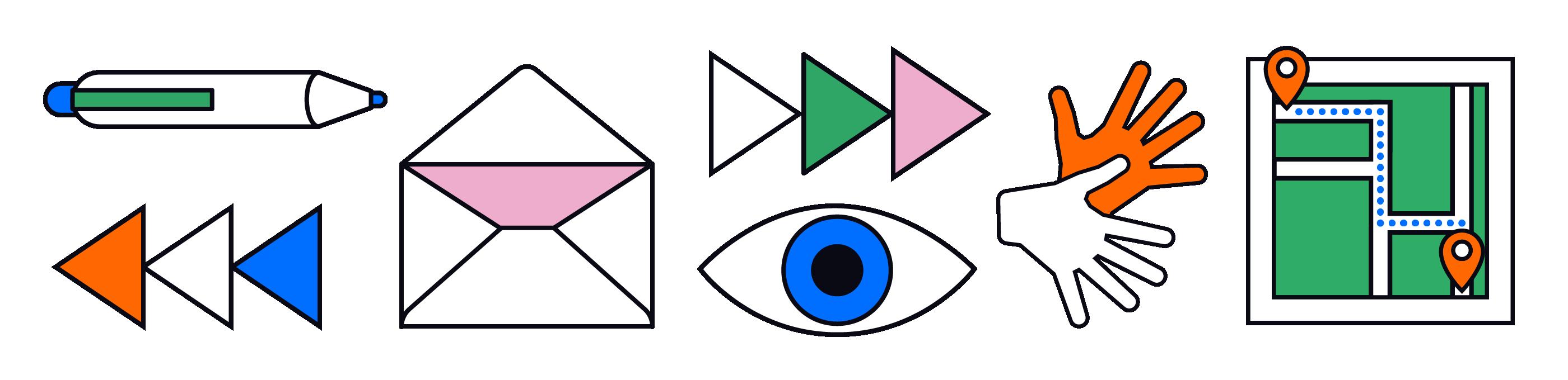 Een serie iconen illustreren de contactpagina op passende wijze: met o.a. een envelop