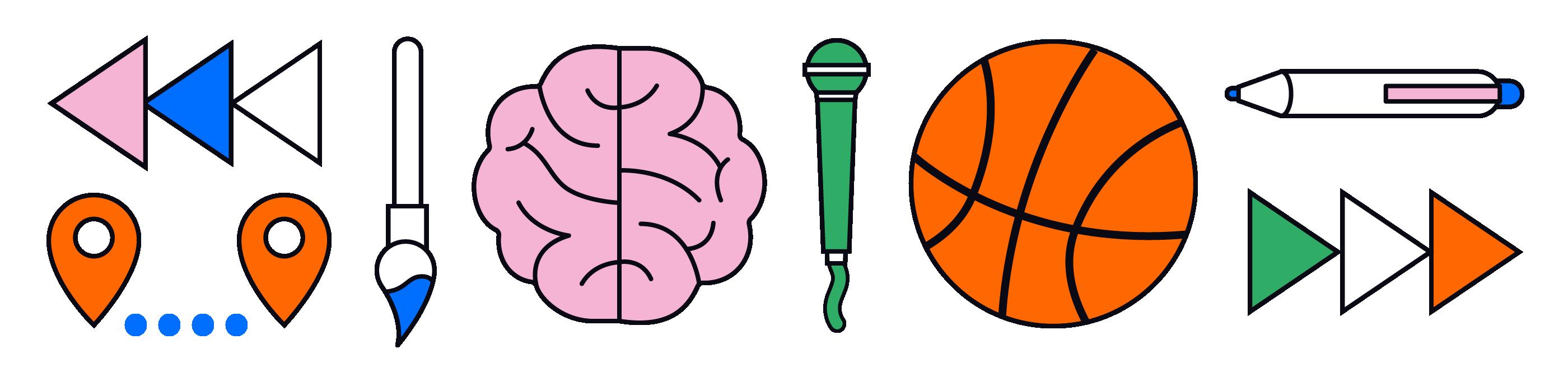 Een serie van iconen die de invulling van het programma visualiseren. Pijlen vooruit en achteruit die het terugblikken en vooruit kijken symboliseren. Twee kaartwijzers voor 'onbeperkt bewegen', hersenen en een pen voor 'onbeperkt ontwikkelen' en een kwast en een basketbal voor 'onbeperkt genieten'