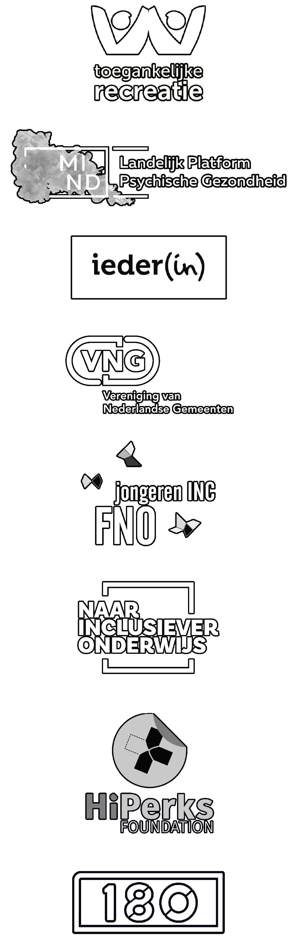 Partner logo's: Toegankelijke Recreatie, MIND Landelijk Platform Psychische Gezondheid, Ieder(in), VNG Vereniging van Nederlandse Gemeenten, Jongeren INC FNO, Naar Inclusiever Onderwijs, HiPerks Foundation, 180