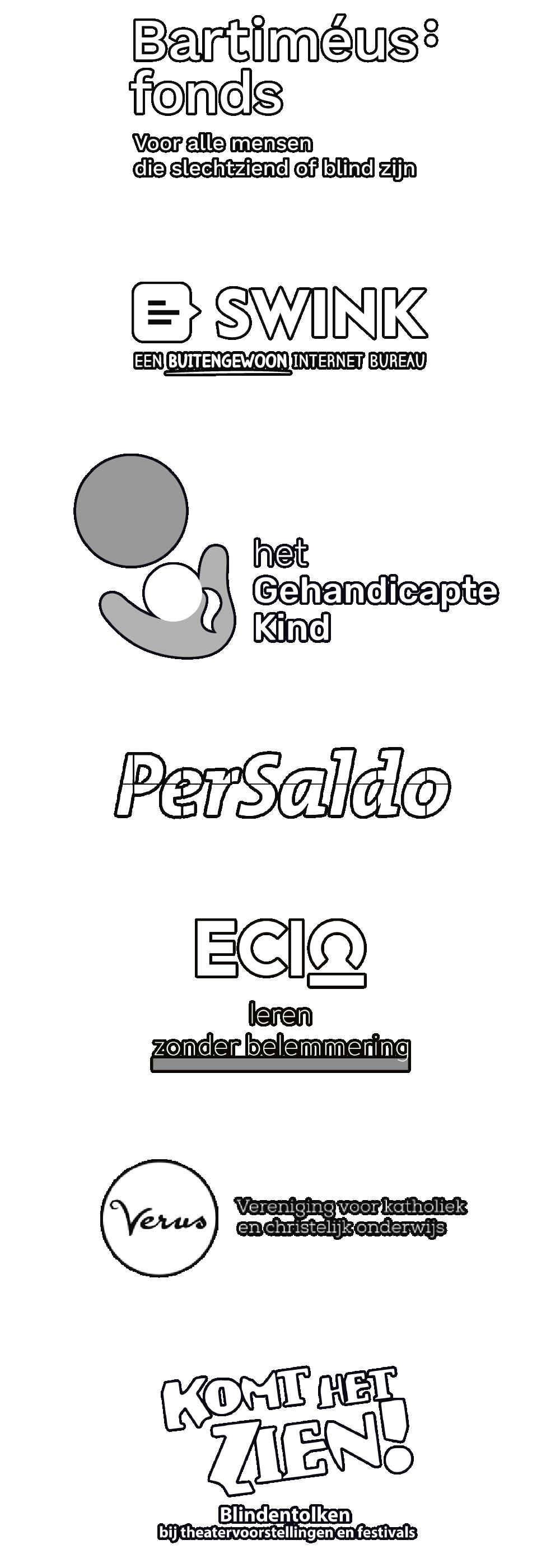 Partner logo's: Bartimeus Fonds, Swink, Het gehandicapte kind, PerSaldo, ECIO leren zonder beperking, Verus Vereniging voor katholiek en christelijk onderwijs, Komt het zien! Blindentolken